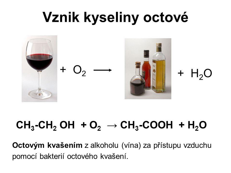 Vznik kyseliny octové Octovým kvašením z alkoholu (vína) za přístupu vzduchu pomocí bakterií octového kvašení. + O 2 + H 2 O CH 3 -CH 2 OH + O 2 → CH