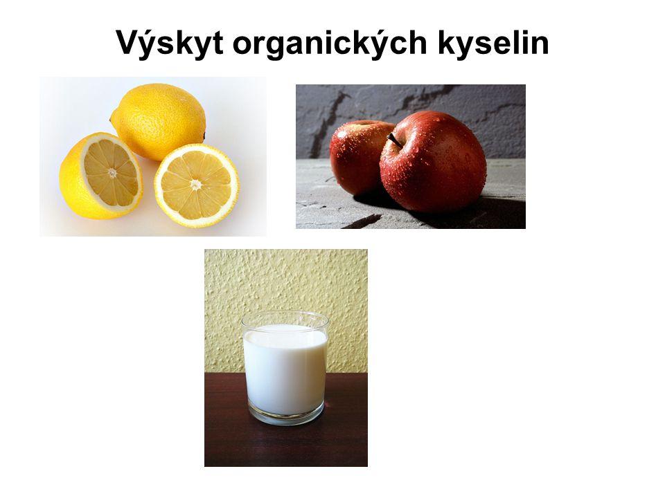 Výskyt organických kyselin