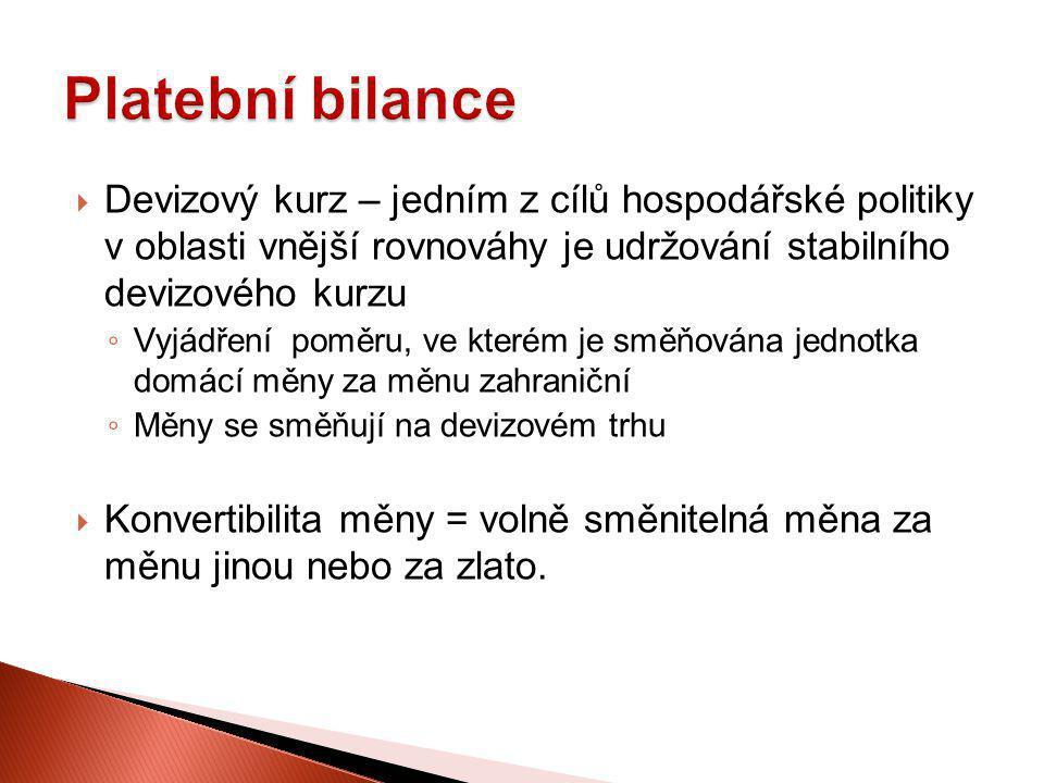  Devizový kurz – jedním z cílů hospodářské politiky v oblasti vnější rovnováhy je udržování stabilního devizového kurzu ◦ Vyjádření poměru, ve kterém