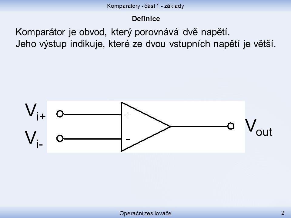 Komparátor je obvod, který porovnává dvě napětí. Jeho výstup indikuje, které ze dvou vstupních napětí je větší. Komparátory - část 1 - základy Operačn