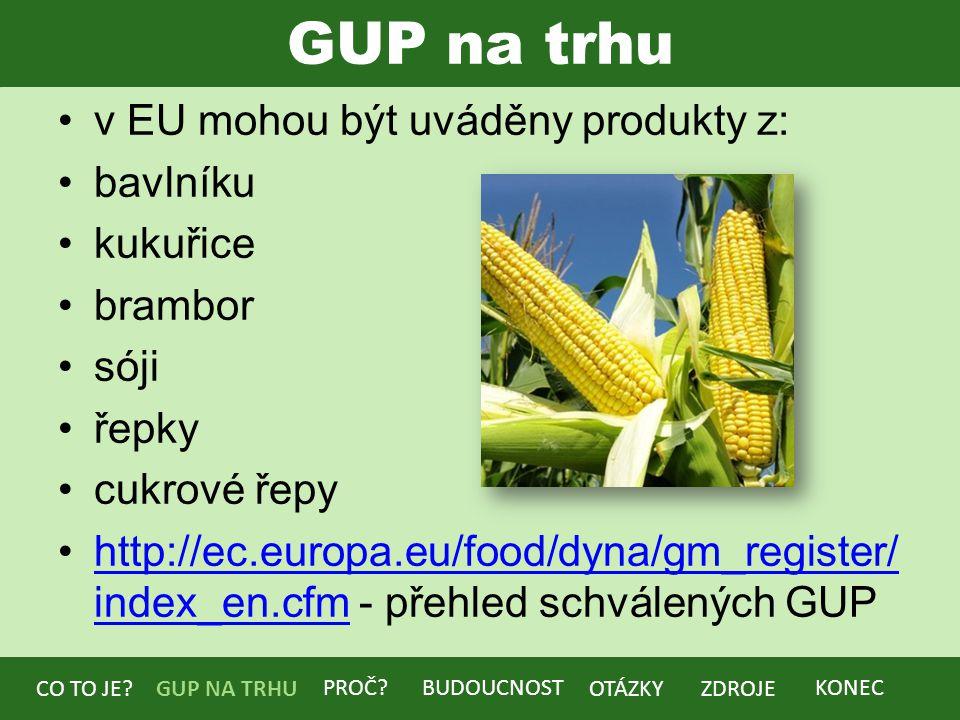 GUP na trhu v EU mohou být uváděny produkty z: bavlníku kukuřice brambor sóji řepky cukrové řepy http://ec.europa.eu/food/dyna/gm_register/ index_en.cfm - přehled schválených GUPhttp://ec.europa.eu/food/dyna/gm_register/ index_en.cfm BUDOUCNOST CO TO JE?GUP NA TRHU PROČ.