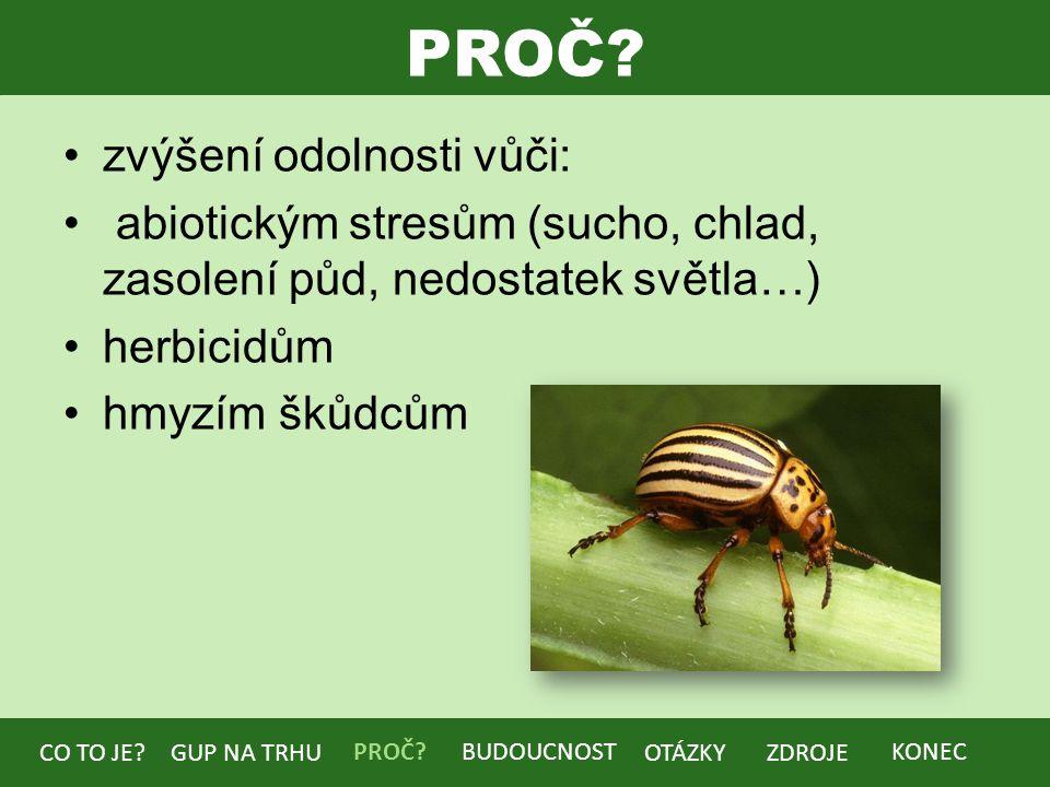 PROČ? zvýšení odolnosti vůči: abiotickým stresům (sucho, chlad, zasolení půd, nedostatek světla…) herbicidům hmyzím škůdcům BUDOUCNOST CO TO JE?GUP NA