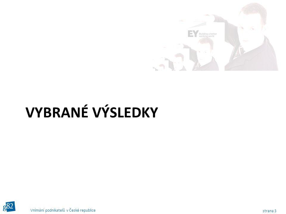 strana 3 Vnímání podnikatelů v České republice VYBRANÉ VÝSLEDKY