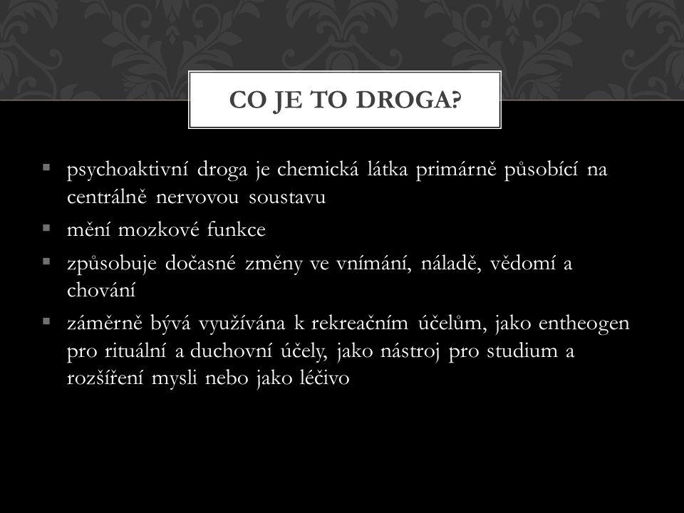 ALKOHOL  alkohol je omamná látka, obsažená v některých nápojích  jeho požití způsobuje v menších dávkách uvolnění a euforické stavy, ve větších dávkách útlum, nevolnost až otravu  u člověka způsobuje změny ve vnímání a chování  je návykový proto ho řadíme mezi drogy  závislost na alkoholu se nazývá alkoholismus LEGÁLNÍ DROGY