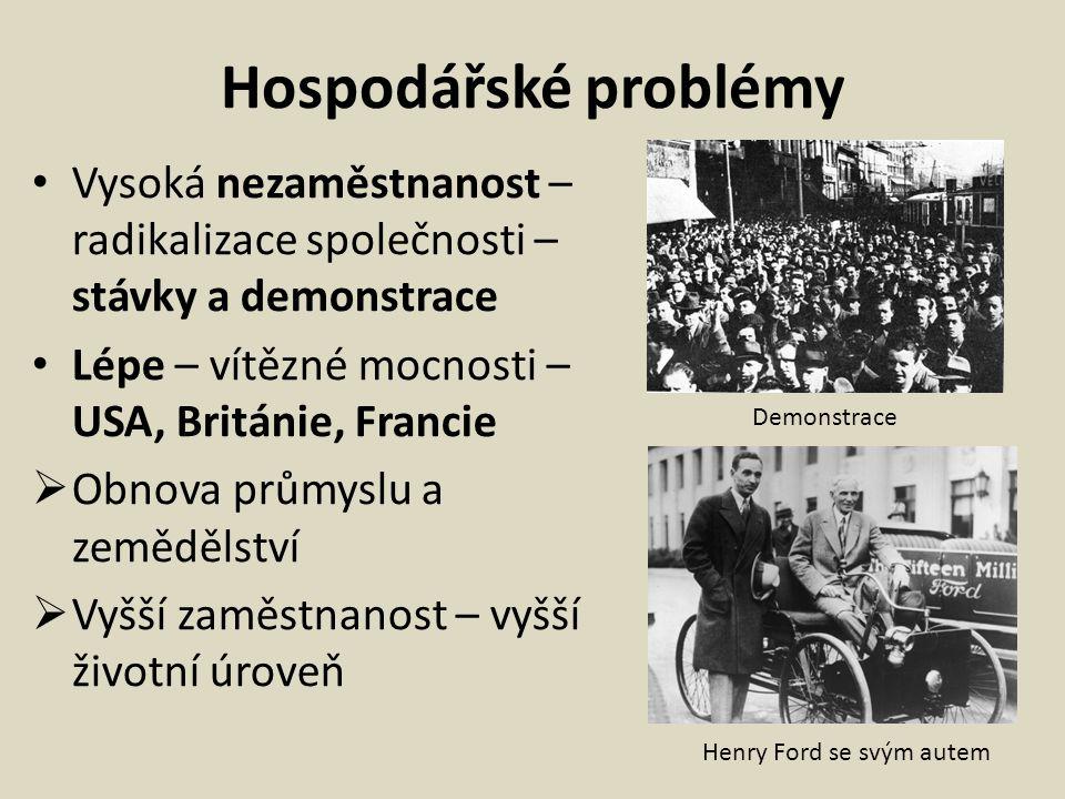 Hospodářské problémy Vysoká nezaměstnanost – radikalizace společnosti – stávky a demonstrace Lépe – vítězné mocnosti – USA, Británie, Francie  Obnova průmyslu a zemědělství  Vyšší zaměstnanost – vyšší životní úroveň Demonstrace Henry Ford se svým autem