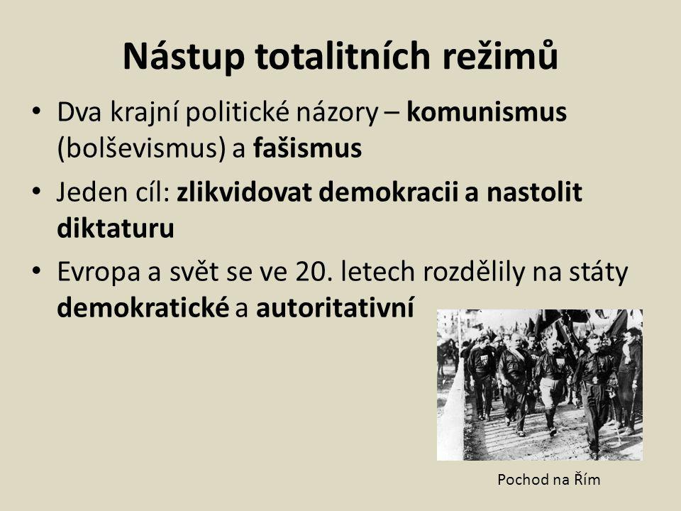 Nástup totalitních režimů Dva krajní politické názory – komunismus (bolševismus) a fašismus Jeden cíl: zlikvidovat demokracii a nastolit diktaturu Evr
