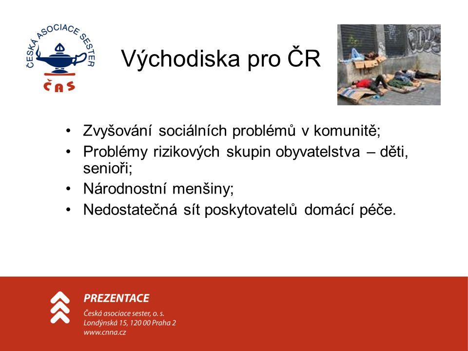 Východiska pro ČR Zvyšování sociálních problémů v komunitě; Problémy rizikových skupin obyvatelstva – děti, senioři; Národnostní menšiny; Nedostatečná