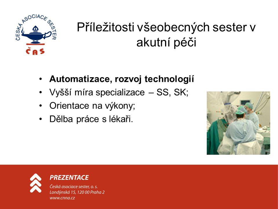 Příležitosti všeobecných sester v akutní péči Automatizace, rozvoj technologií Vyšší míra specializace – SS, SK; Orientace na výkony; Dělba práce s lé