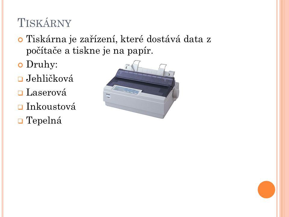 J EHLIČKOVÁ TISKÁRNA Nižší kvalita tisku Pokladny nebo prodejní terminály Provoz levný a spolehlivý 60-90 DPI Funguje podobně jako psací stroj, přes barvící pásku naplněnou inkoustem se otisknou jehličky na papír Inkoustové pásky většinou jednorázové, nepříliš efektivní při tisknutý barevných fotografií Výhody: náklady na tisk, životnost, údržba, levný provoz, spolehlivost Nevýhody: rychlost, rozlišení, hlučnost, omezená paleta barev