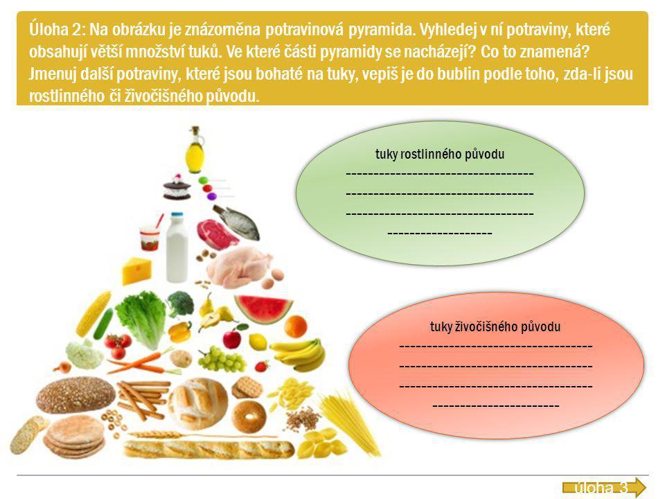 Úloha 2: Na obrázku je znázorněna potravinová pyramida. Vyhledej v ní potraviny, které obsahují větší množství tuků. Ve které části pyramidy se nacház