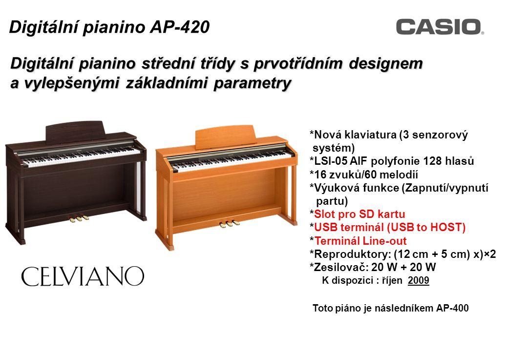 Toto piáno je následovníkem AP-400 K dispozici : říjen 2009 Digitální pianino střední třídy s prvotřídním designem a vylepšenými základními parametry Digitální pianino AP-420 *Nová klaviatura (3 senzorový systém) *LSI-05 AIF polyfonie 128 hlasů *16 zvuků/60 melodií *Výuková funkce (Zapnutí/vypnutí partu) *Slot pro SD kartu *USB terminál (USB to HOST) *Terminál Line-out *Reproduktory: (12 cm + 5 cm) x)×2 *Zesilovač: 20 W + 20 W Toto piáno je následníkem AP-400