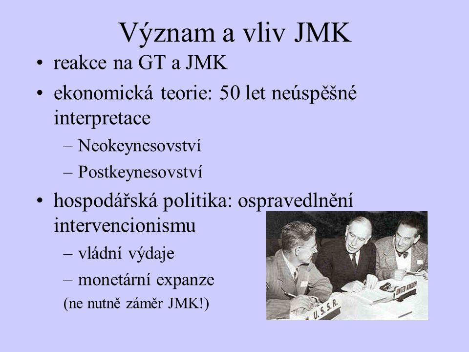 Význam a vliv JMK reakce na GT a JMK ekonomická teorie: 50 let neúspěšné interpretace –Neokeynesovství –Postkeynesovství hospodářská politika: ospravedlnění intervencionismu –vládní výdaje –monetární expanze (ne nutně záměr JMK!)