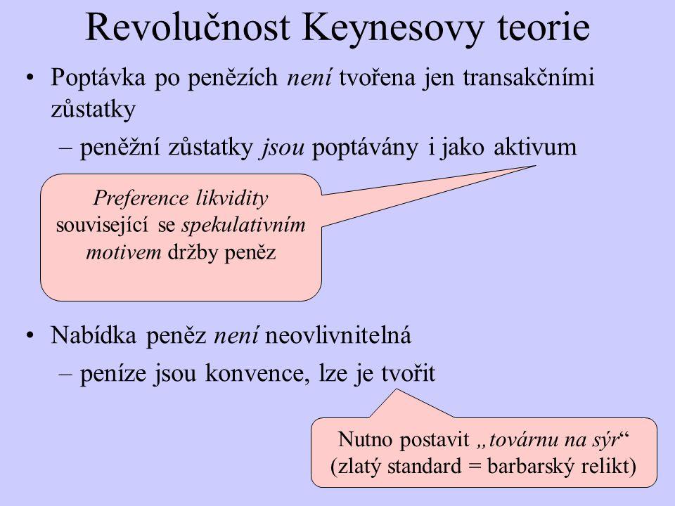 """Revolučnost Keynesovy teorie Poptávka po penězích není tvořena jen transakčními zůstatky –peněžní zůstatky jsou poptávány i jako aktivum Nabídka peněz není neovlivnitelná –peníze jsou konvence, lze je tvořit Nutno postavit """"továrnu na sýr (zlatý standard = barbarský relikt) Preference likvidity související se spekulativním motivem držby peněz"""