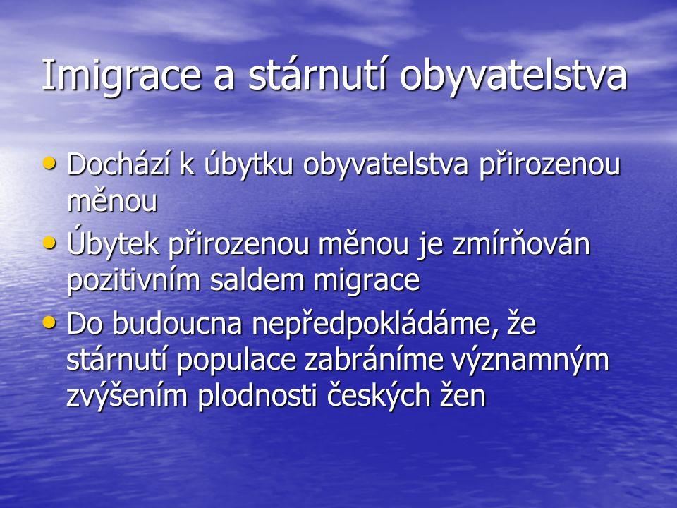 Imigrace a stárnutí obyvatelstva Dochází k úbytku obyvatelstva přirozenou měnou Dochází k úbytku obyvatelstva přirozenou měnou Úbytek přirozenou měnou je zmírňován pozitivním saldem migrace Úbytek přirozenou měnou je zmírňován pozitivním saldem migrace Do budoucna nepředpokládáme, že stárnutí populace zabráníme významným zvýšením plodnosti českých žen Do budoucna nepředpokládáme, že stárnutí populace zabráníme významným zvýšením plodnosti českých žen