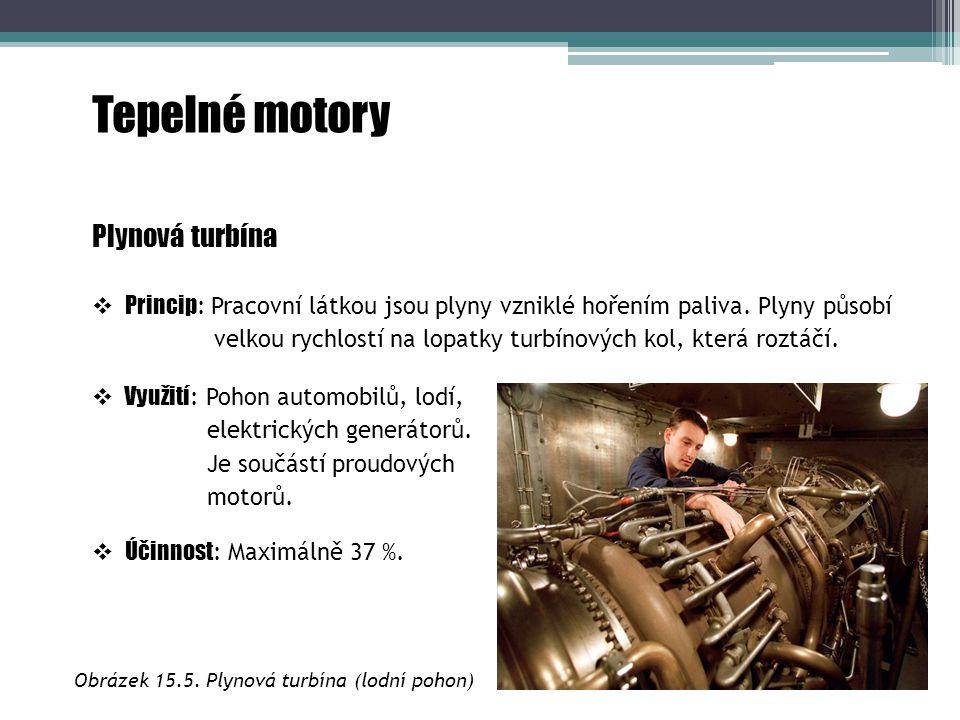 Tepelné motory Plynová turbína  Princip : Pracovní látkou jsou plyny vzniklé hořením paliva. Plyny působí velkou rychlostí na lopatky turbínových kol