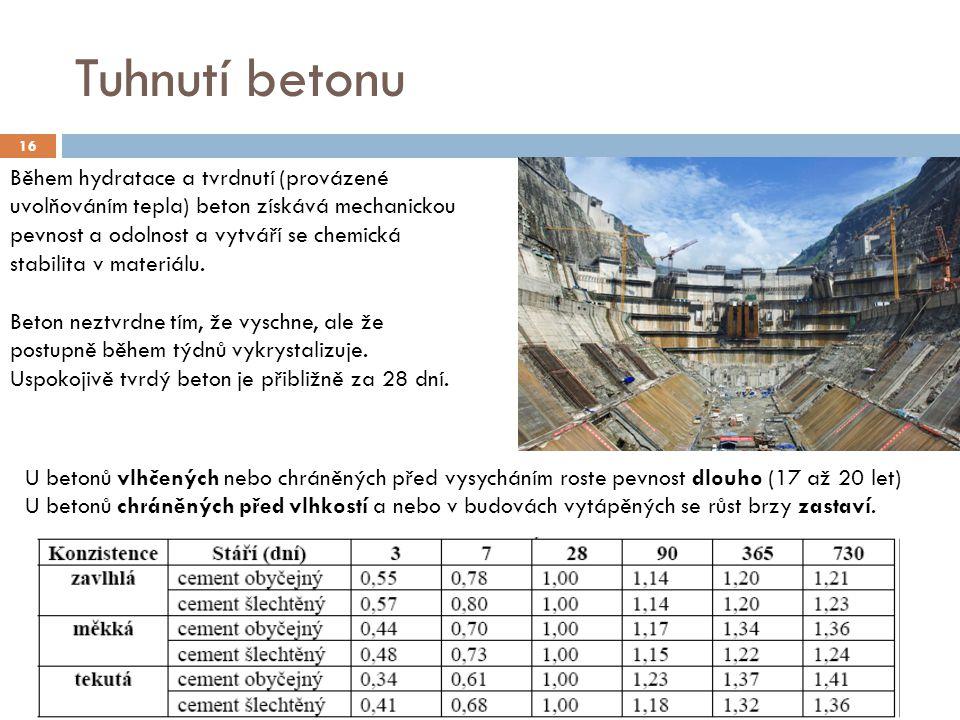 Tuhnutí betonu 16 Během hydratace a tvrdnutí (provázené uvolňováním tepla) beton získává mechanickou pevnost a odolnost a vytváří se chemická stabilit
