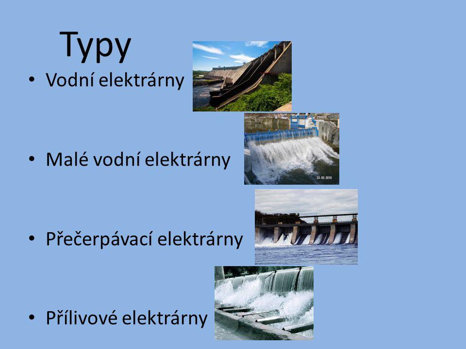Typy Vodní elektrárny Malé vodní elektrárny Přečerpávací elektrárny Přílivové elektrárny