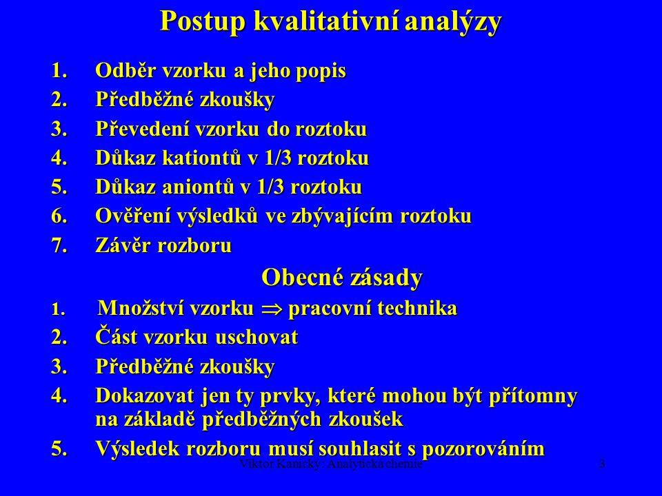 Viktor Kanický: Analytická chemie3 Postup kvalitativní analýzy 1.Odběr vzorku a jeho popis 2.Předběžné zkoušky 3.Převedení vzorku do roztoku 4.Důkaz k