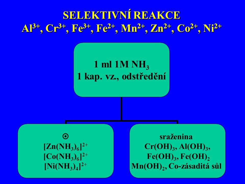 SELEKTIVNÍ REAKCE Al 3+, Cr 3+, Fe 3+, Fe 2+, Mn 2+, Zn 2+, Co 2+, Ni 2+
