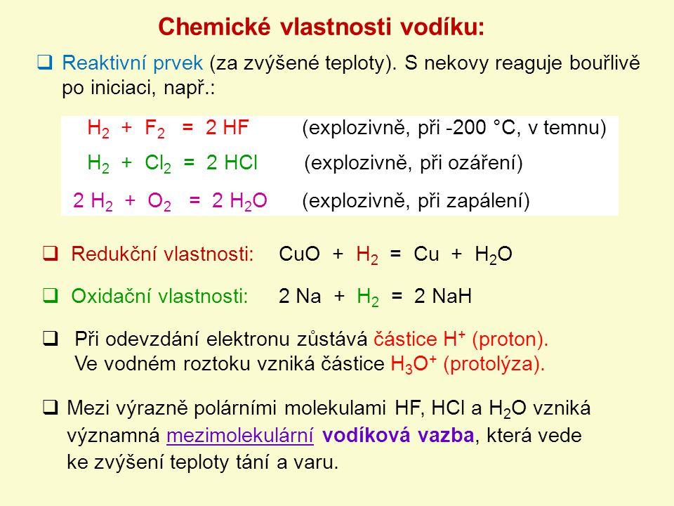  Mezi výrazně polárními molekulami HF, HCl a H 2 O vzniká významná mezimolekulární vodíková vazba, která vede ke zvýšení teploty tání a varu. Chemick