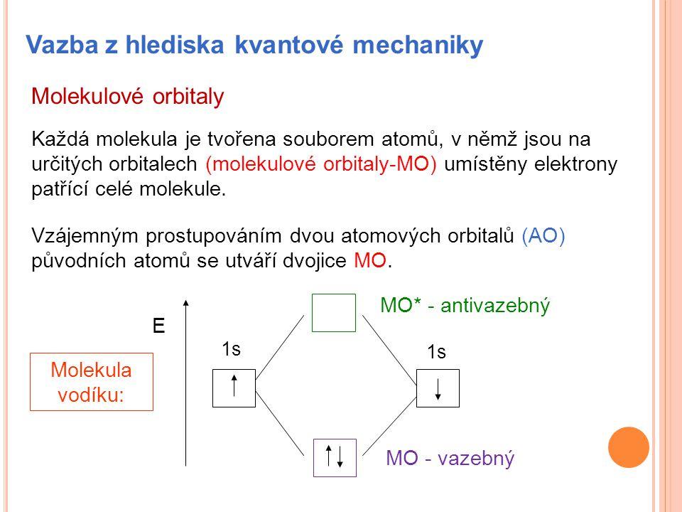 Molekulové orbitaly Každá molekula je tvořena souborem atomů, v němž jsou na určitých orbitalech (molekulové orbitaly-MO) umístěny elektrony patřící c