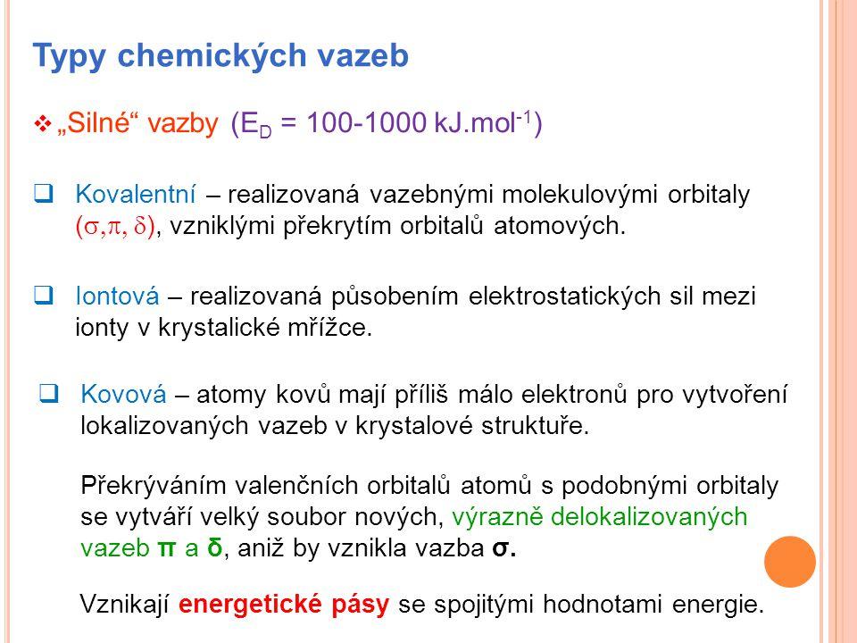 "Typy chemických vazeb  ""Silné"" vazby (E D = 100-1000 kJ.mol -1 )  Kovalentní – realizovaná vazebnými molekulovými orbitaly (  ), vzniklými pře"