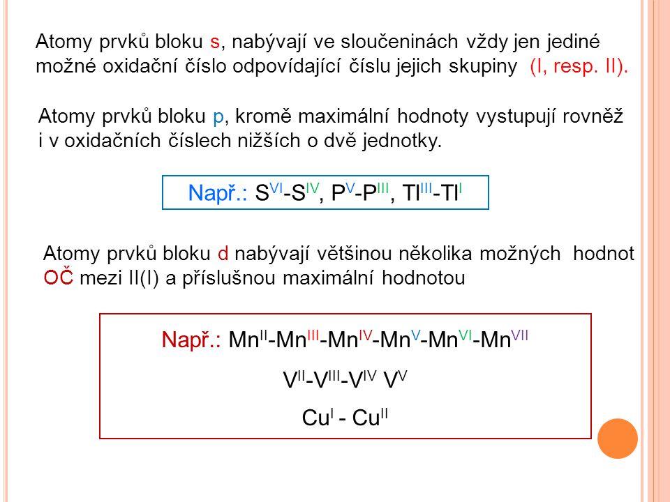 Atomy prvků bloku p, kromě maximální hodnoty vystupují rovněž i v oxidačních číslech nižších o dvě jednotky. Např.: S VI -S IV, P V -P III, Tl III -Tl