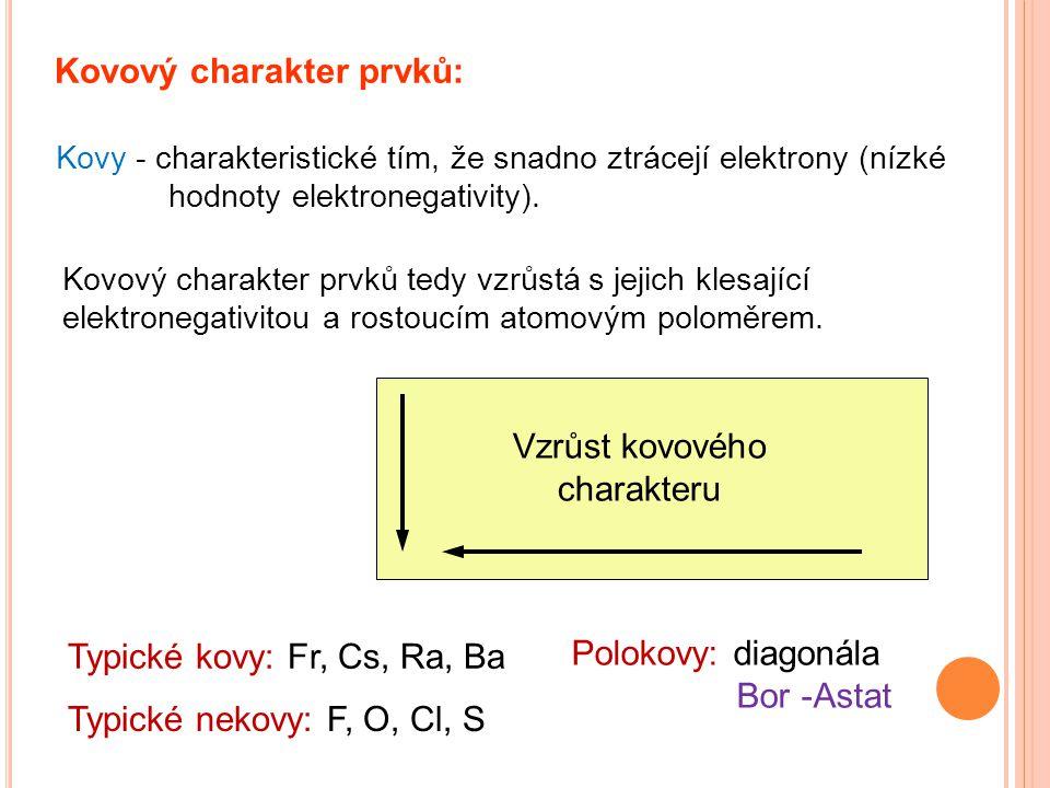 Kovový charakter prvků: Kovy - charakteristické tím, že snadno ztrácejí elektrony (nízké hodnoty elektronegativity). Kovový charakter prvků tedy vzrůs