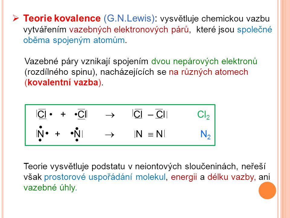  Teorie kovalence (G.N.Lewis): vysvětluje chemickou vazbu vytvářením vazebných elektronových párů, které jsou společné oběma spojeným atomům. Vazebné