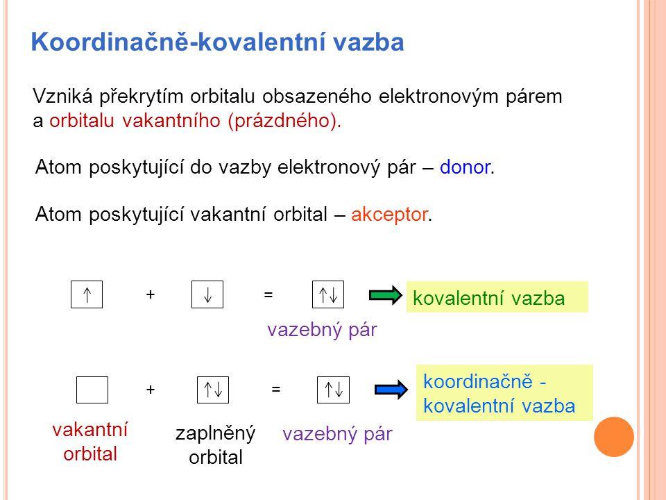 Koordinačně-kovalentní vazba Vzniká překrytím orbitalu obsazeného elektronovým párem a orbitalu vakantního (prázdného). Atom poskytující do vazby elek