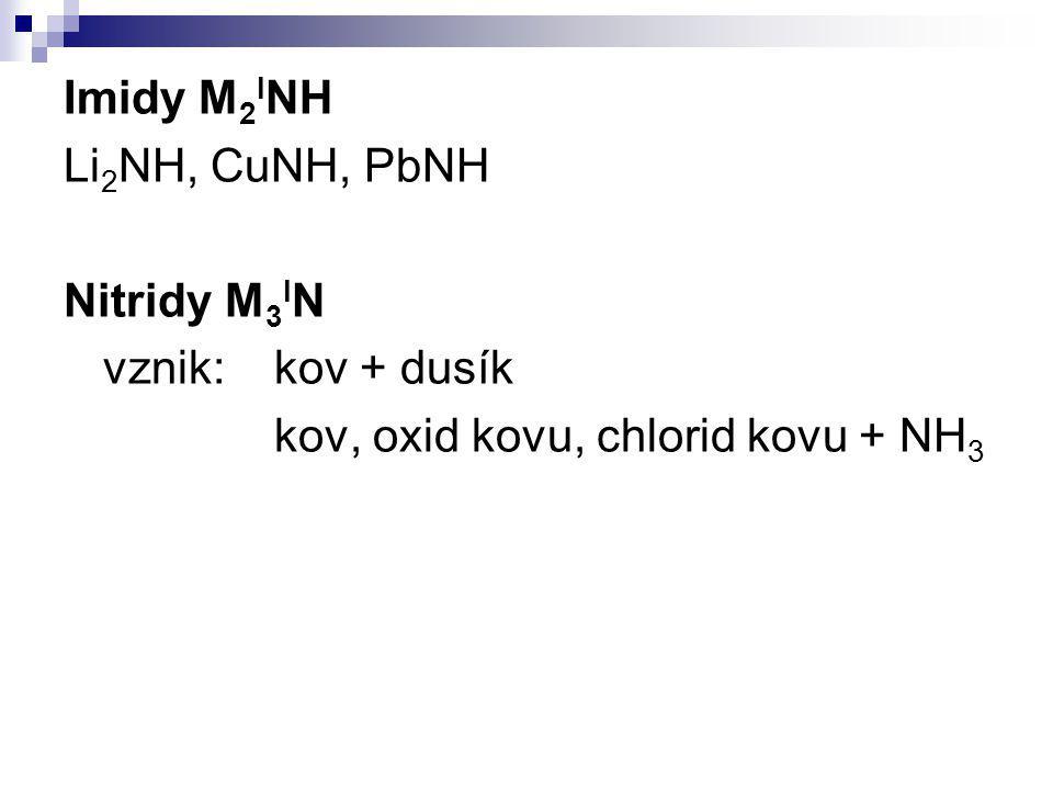 Imidy M 2 I NH Li 2 NH, CuNH, PbNH Nitridy M 3 I N vznik:kov + dusík kov, oxid kovu, chlorid kovu + NH 3