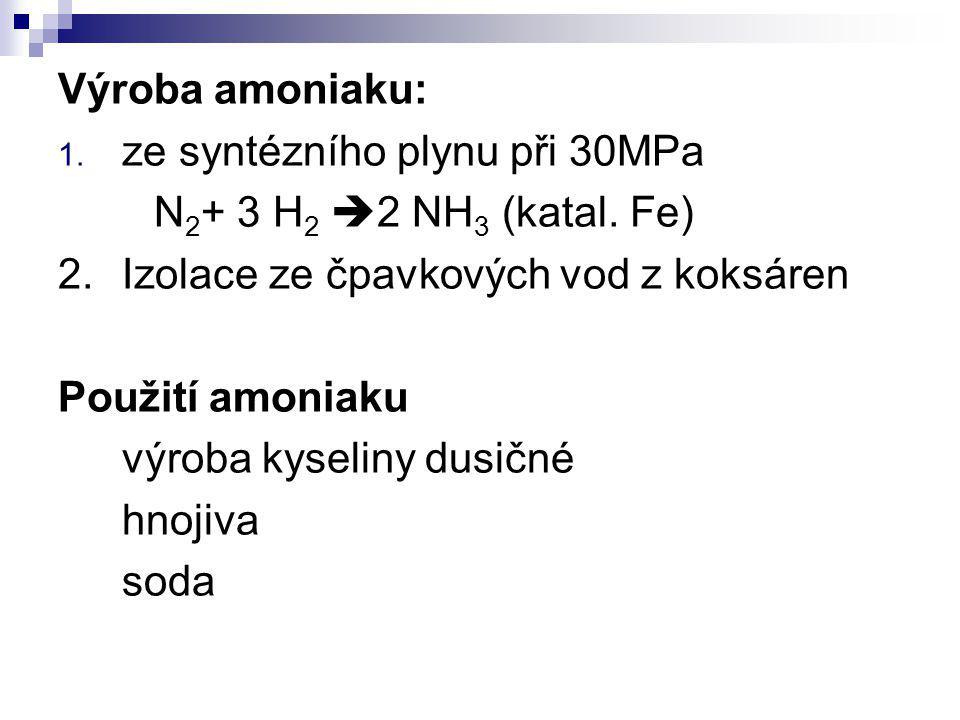 Výroba amoniaku: 1. ze syntézního plynu při 30MPa N 2 + 3 H 2  2 NH 3 (katal. Fe) 2.Izolace ze čpavkových vod z koksáren Použití amoniaku výroba kyse