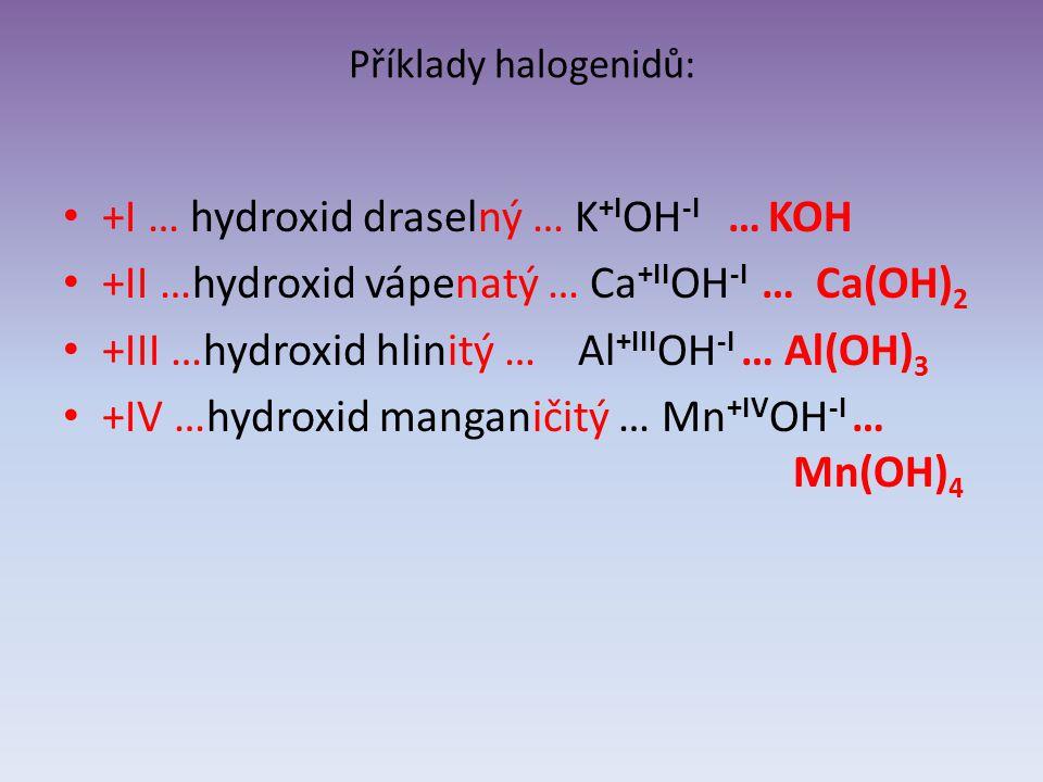 Příklady halogenidů: +I … hydroxid draselný … K +I OH -I … KOH +II …hydroxid vápenatý … Ca +II OH -I … Ca(OH) 2 +III …hydroxid hlinitý … Al +III OH -I … Al(OH) 3 +IV …hydroxid manganičitý … Mn +IV OH -I … Mn(OH) 4