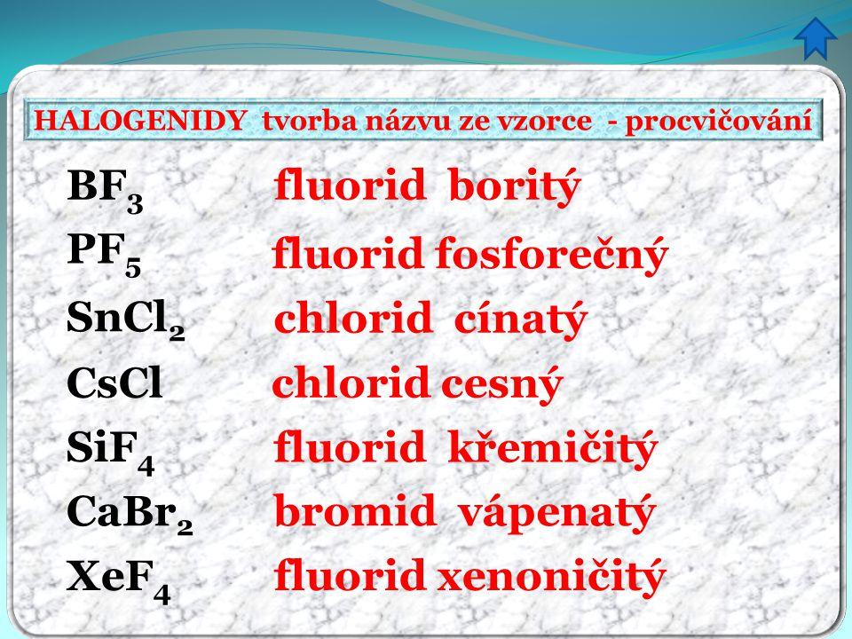 HALOGENIDY tvorba názvu ze vzorce - procvičování fluorid boritý fluorid fosforečný chlorid cínatý chlorid cesný fluorid křemičitý bromid vápenatý fluorid xenoničitý BF 3 PF 5 SnCl 2 CsCl SiF 4 XeF 4 CaBr 2