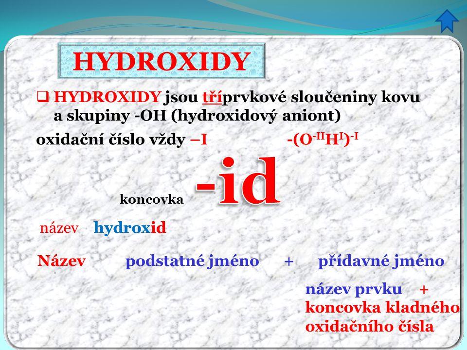 HYDROXIDY název hydrox koncovka id Název podstatné jméno + přídavné jméno hydroxid název prvku + koncovka kladného oxidačního čísla  HYDROXIDY jsou tříprvkové sloučeniny kovu a skupiny -OH (hydroxidový aniont) oxidační číslo vždy –I -(O -II H I ) -I
