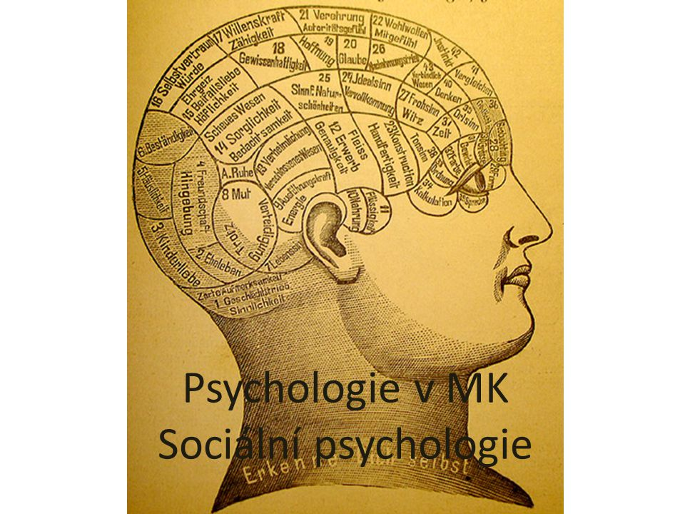 Sociální psychologie základní psychologická disciplína pomocí vědeckých metod se snaží porozumět a zároveň vysvětlit, jak je myšlení, cítění a chování jedinců ovlivňováno skutečnou, představovanou či předpokládanou přítomností druhých.
