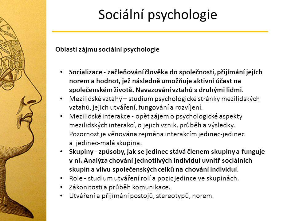 Sociální psychologie Socializace - začleňování člověka do společnosti, přijímání jejích norem a hodnot, jež následně umožňuje aktivní účast na společe