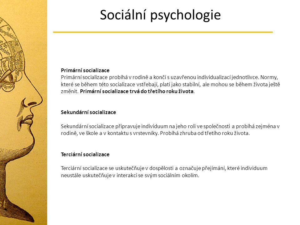 Sociální psychologie Primární socializace Primární socializace probíhá v rodině a končí s uzavřenou individualizací jednotlivce. Normy, které se během