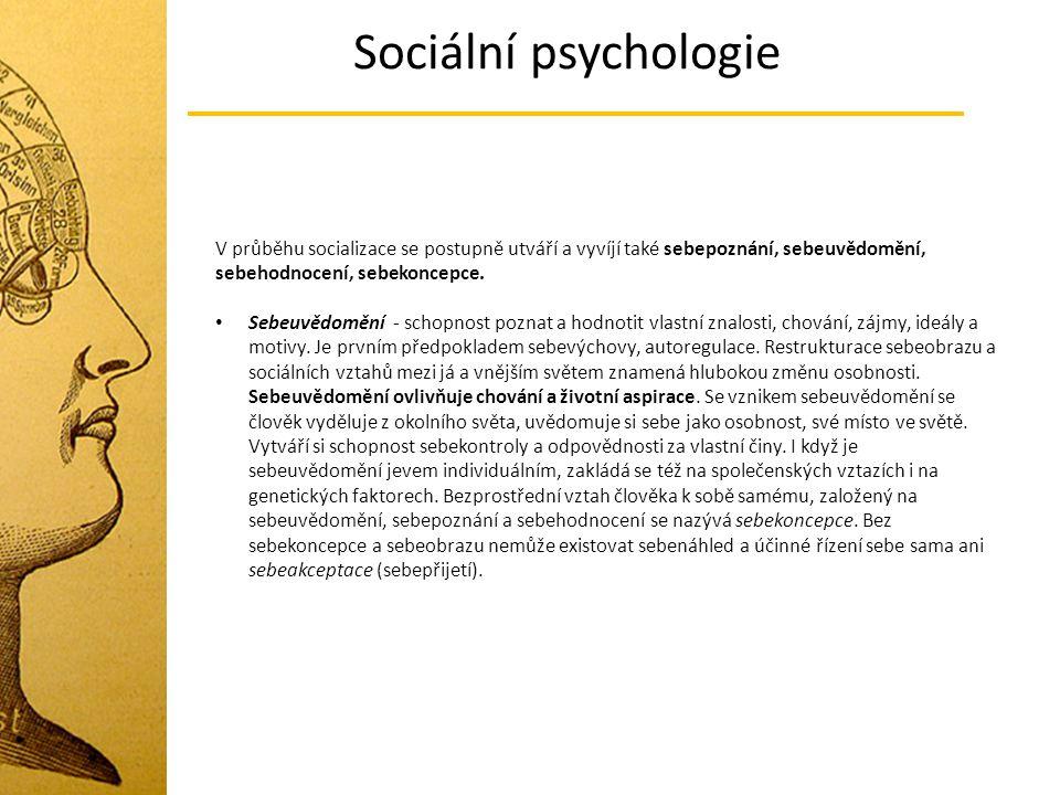 Sociální psychologie V průběhu socializace se postupně utváří a vyvíjí také sebepoznání, sebeuvědomění, sebehodnocení, sebekoncepce. Sebeuvědomění - s