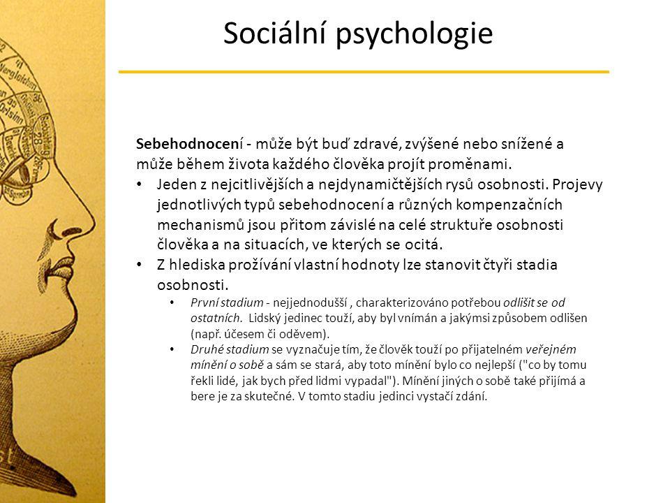 Sociální psychologie Sebehodnocení - může být buď zdravé, zvýšené nebo snížené a může během života každého člověka projít proměnami. Jeden z nejcitliv