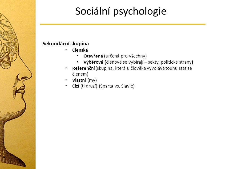 Sociální psychologie Sekundární skupina Členská Otevřená (určená pro všechny) Výběrová (členové se vybírají – sekty, politické strany) Referenční (sku