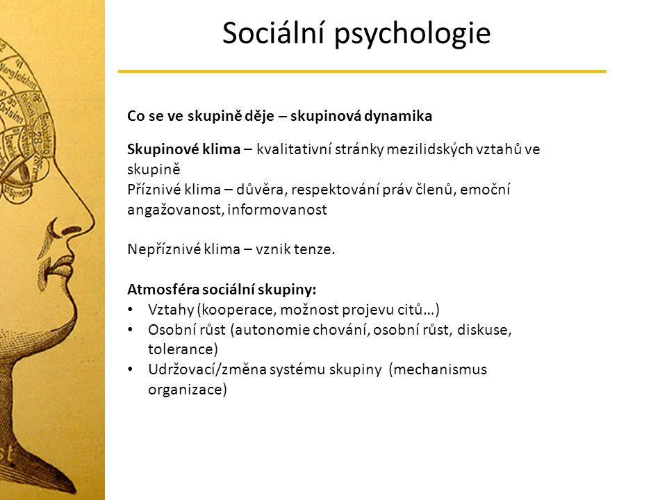 Sociální psychologie Co se ve skupině děje – skupinová dynamika Skupinové klima – kvalitativní stránky mezilidských vztahů ve skupině Příznivé klima –