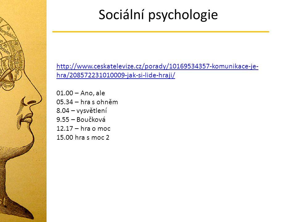 Sociální psychologie http://www.ceskatelevize.cz/porady/10169534357-komunikace-je- hra/208572231010009-jak-si-lide-hraji/ 01.00 – Ano, ale 05.34 – hra
