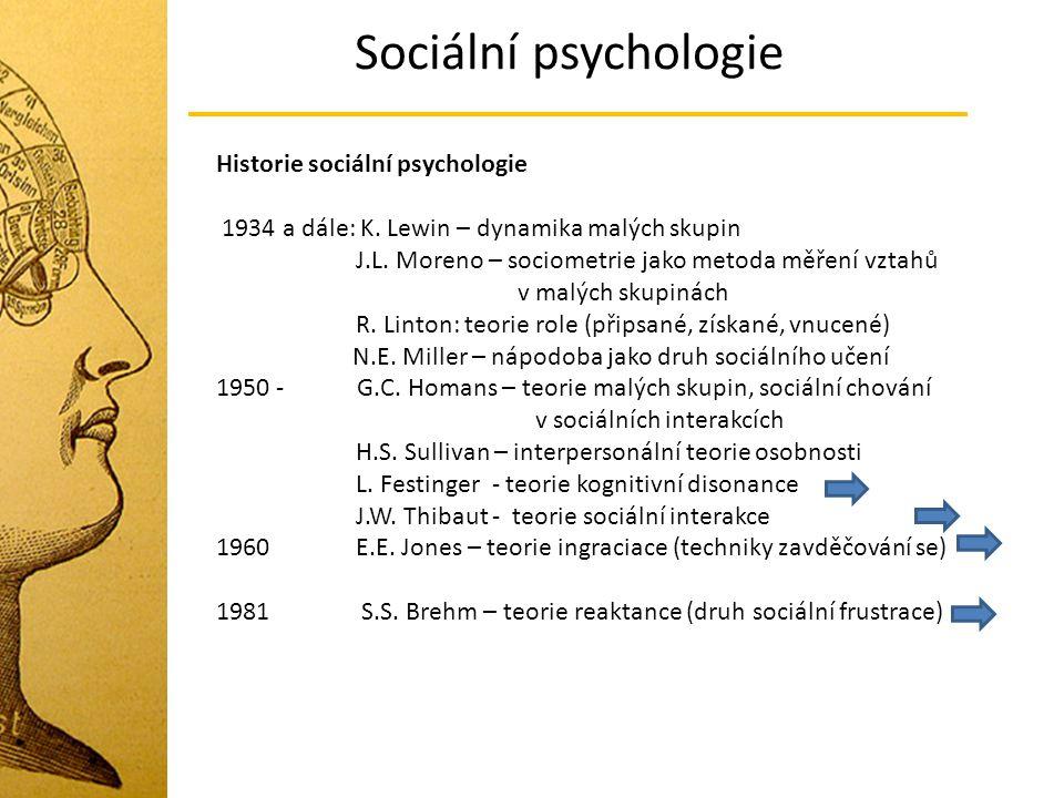 Sociální psychologie Historie sociální psychologie 1934 a dále: K. Lewin – dynamika malých skupin J.L. Moreno – sociometrie jako metoda měření vztahů
