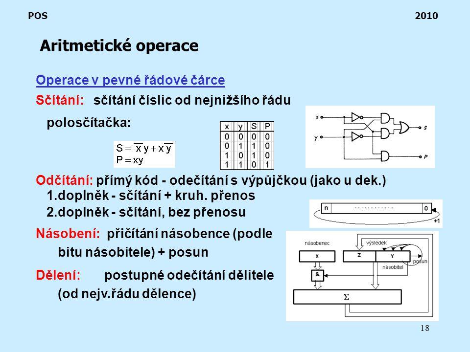 18 Aritmetické operace POS 2010 Operace v pevné řádové čárce Sčítání: sčítání číslic od nejnižšího řádu polosčítačka: Odčítání: přímý kód - odečítání s výpůjčkou (jako u dek.) 1.doplněk - sčítání + kruh.