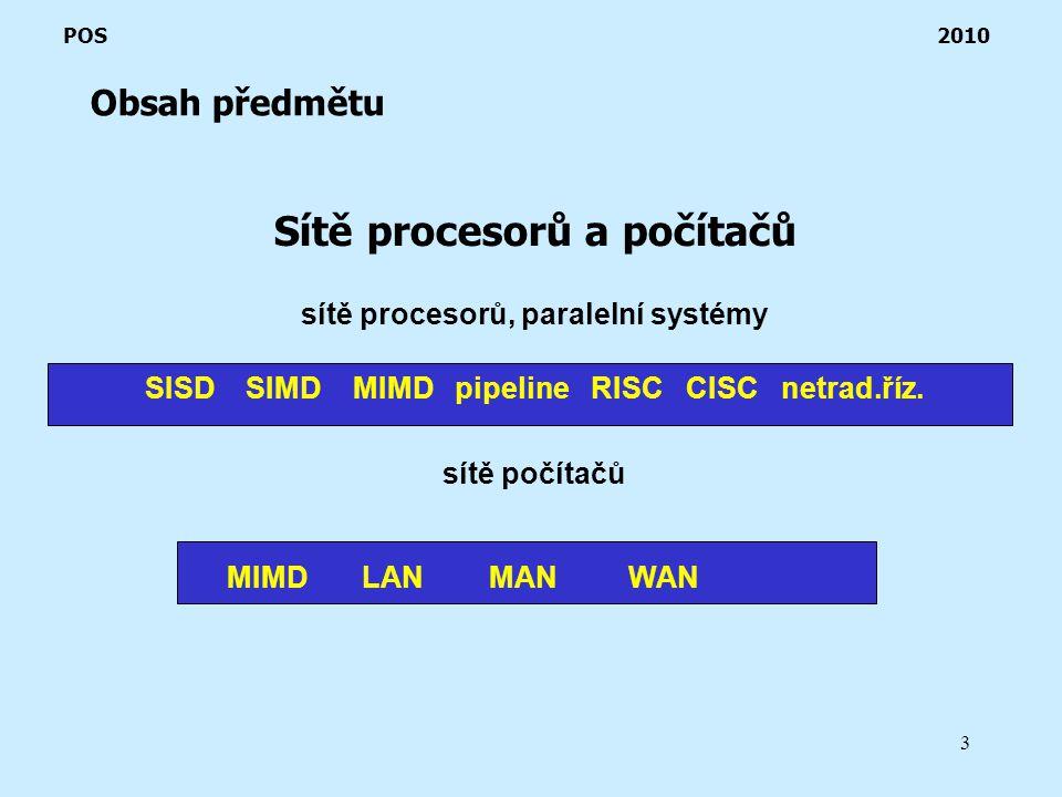3 Obsah předmětu POS 2010 Sítě procesorů a počítačů sítě procesorů, paralelní systémy SISD SIMD MIMD pipeline RISC CISC netrad.říz.