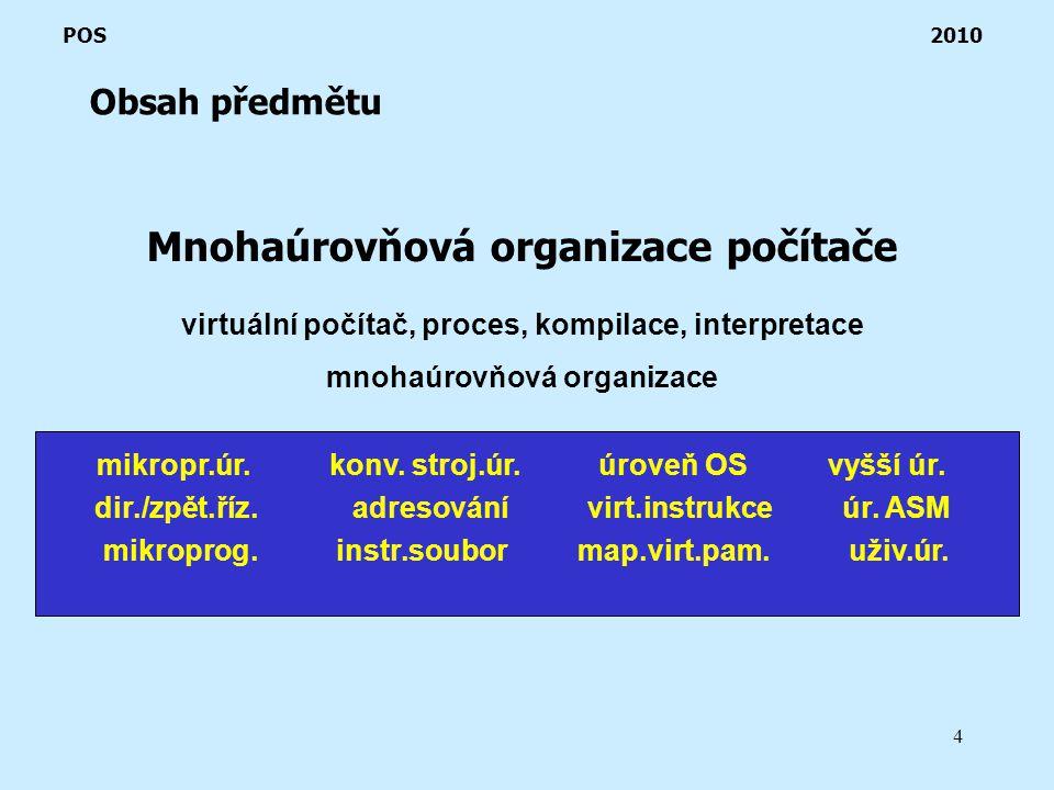 4 Obsah předmětu POS 2010 Mnohaúrovňová organizace počítače virtuální počítač, proces, kompilace, interpretace mnohaúrovňová organizace mikropr.úr.