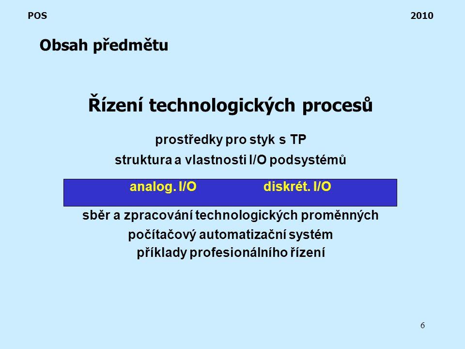 6 Řízení technologických procesů prostředky pro styk s TP struktura a vlastnosti I/O podsystémů analog.