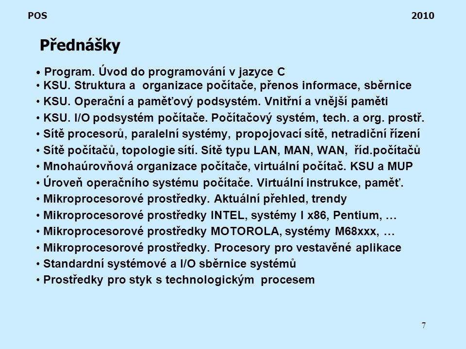 7 Přednášky POS 2010 Program. Úvod do programování v jazyce C KSU.
