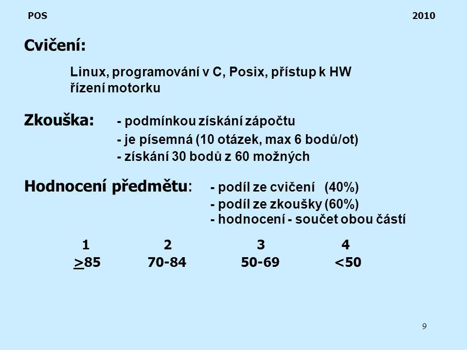9 Cvičení: POS 2010 Linux, programování v C, Posix, přístup k HW řízení motorku Zkouška: - podmínkou získání zápočtu - je písemná (10 otázek, max 6 bodů/ot) - získání 30 bodů z 60 možných Hodnocení předmětu: - podíl ze cvičení (40%) - podíl ze zkoušky (60%) - hodnocení - součet obou částí 123 4 >85 70-84 50-69 <50